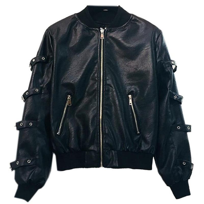 2019 Black   Leather   Jacket Women fashion Loose Locomotive PU   Leather   Jackets Women's Short Casual Coat Student Basic Coats r1030