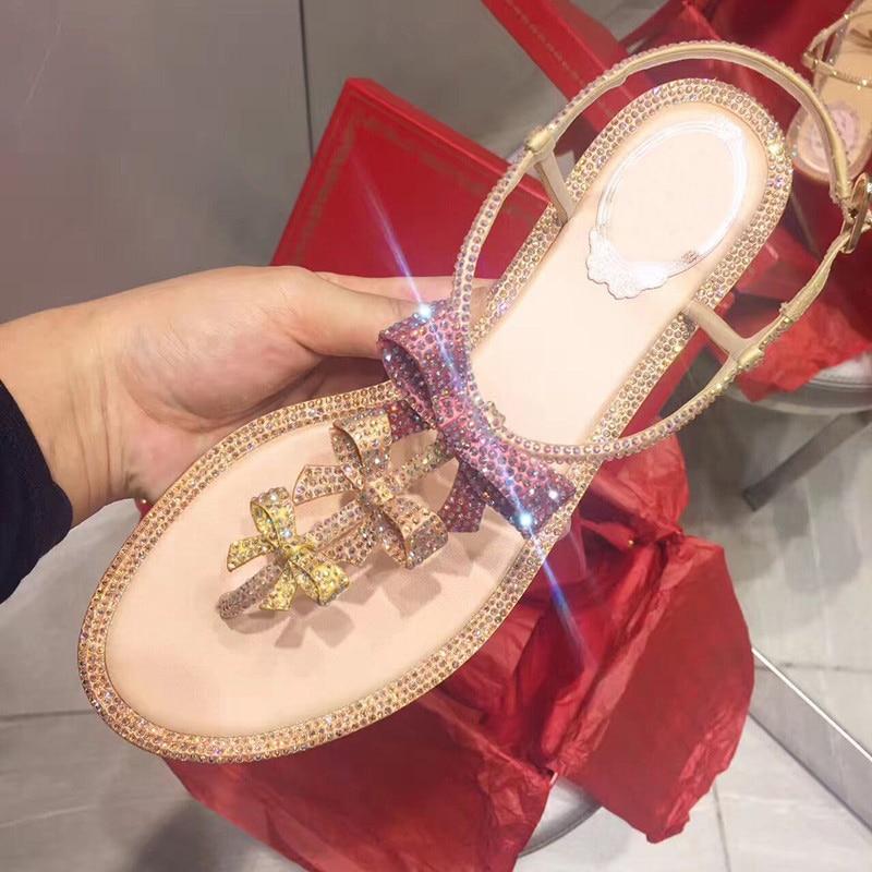 Koovan Women s Sandals 2019 Spring Summer New Diamond Bow Flat Bottom Sandals Female Fashion T