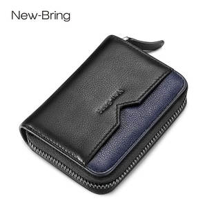 NewBring Genuine Leather Function NFC Blocking 12 Bits Business Card Holder Unisex Zipper Bank/ID/Credit Card Wallet Women