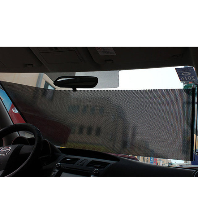 GSPSCN Retractable PVC Car Window Sunshades Auto Front Rear Side Windows Sun Shade Anti-UV Protection Sun Visor Gray/Black