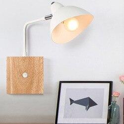 BEIAIDI nowoczesne drewno doprowadziły lampka nocna lampka nocna lampa z przełącznikiem regulowany kąt Hotel balkon przejściach i korytarzach ściany światła badanie sypialnia lampka do czytania