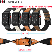 Leather and Silicone Watch Bands For Apple Watch Bands Series 4/3/2/1 Steel Buckle Sports Military Wrist Strap Bracelet 38/42