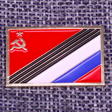 Russia Flag Lapel Pin Sosialis Soviet Bintang Merah Lencana Ransel Denim Jaket Bros(China)