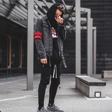DARK ICON Heavy Washing Destroyed Denim Jacket Men High Street Ripped Jeans Jackets Men's Jacket Black(China)