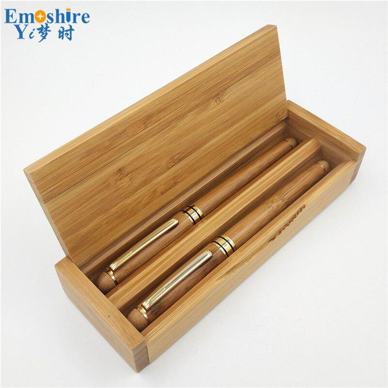 OEM bambou rouleau stylo à bille stylo plume deux stylo à bille en bois porte-crayon cadeaux d'affaires personnalisés avec boîte à crayons P665