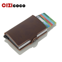 купить 2019 New Aluminum Alloy Business ID Card Case RFID Blocking Men Credit Card Holder Automatic Metal Leather Cardholder Wallet дешево