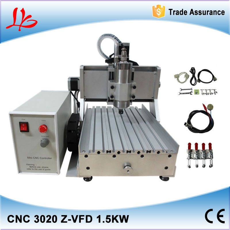 EU tax free 3 axis CNC Router LY CNC 3020Z-VFD1.5KW Engraving Machine ,cnc cutting machine,also have EU warehouse free tax to eu high quality cnc router frame 3020t with trapezoidal screw for cnc engraver machine