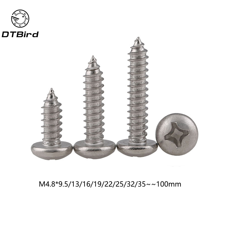 M4.8 DIN7981 GB845 ISO7049304 Stainless Steel Cross Recessed Pan Head Screws Phillips Self-tapping Wood Screws m3 phillips cross recessed mushroom truss head self tapping wood metal sheet screws 304 stainless steel diy repair never rust
