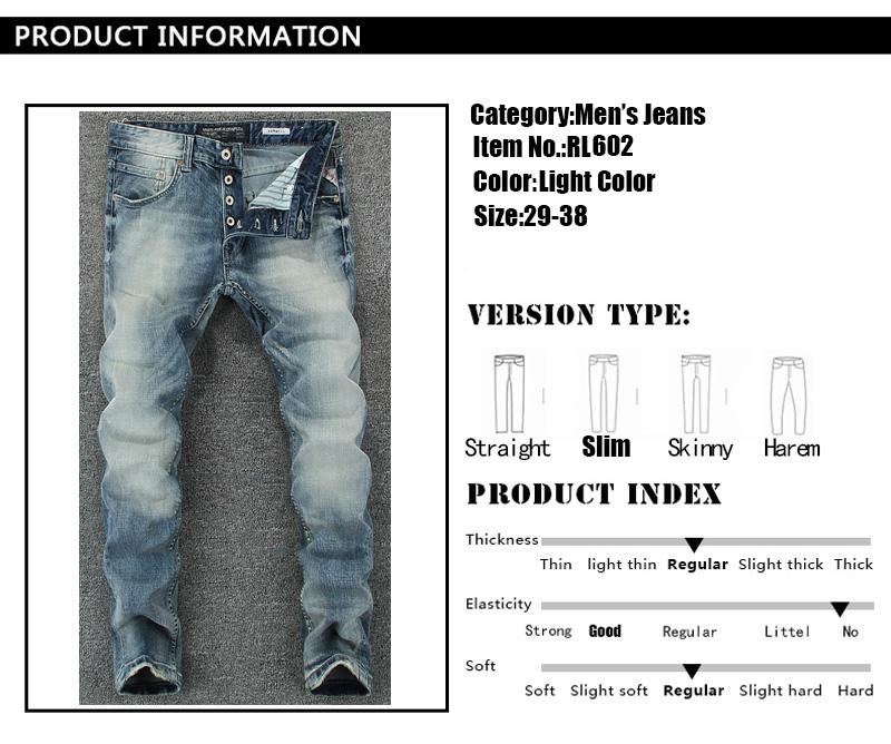 Großhandel Italienische Vintage Designer Männer Jeans Hellblau Slim ... 2b844ce790