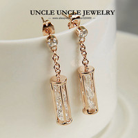 18K Rose Gold Plated AAA 3 Pieces Zircons Inside Real Me Style Lady Long Earrings Wholesale