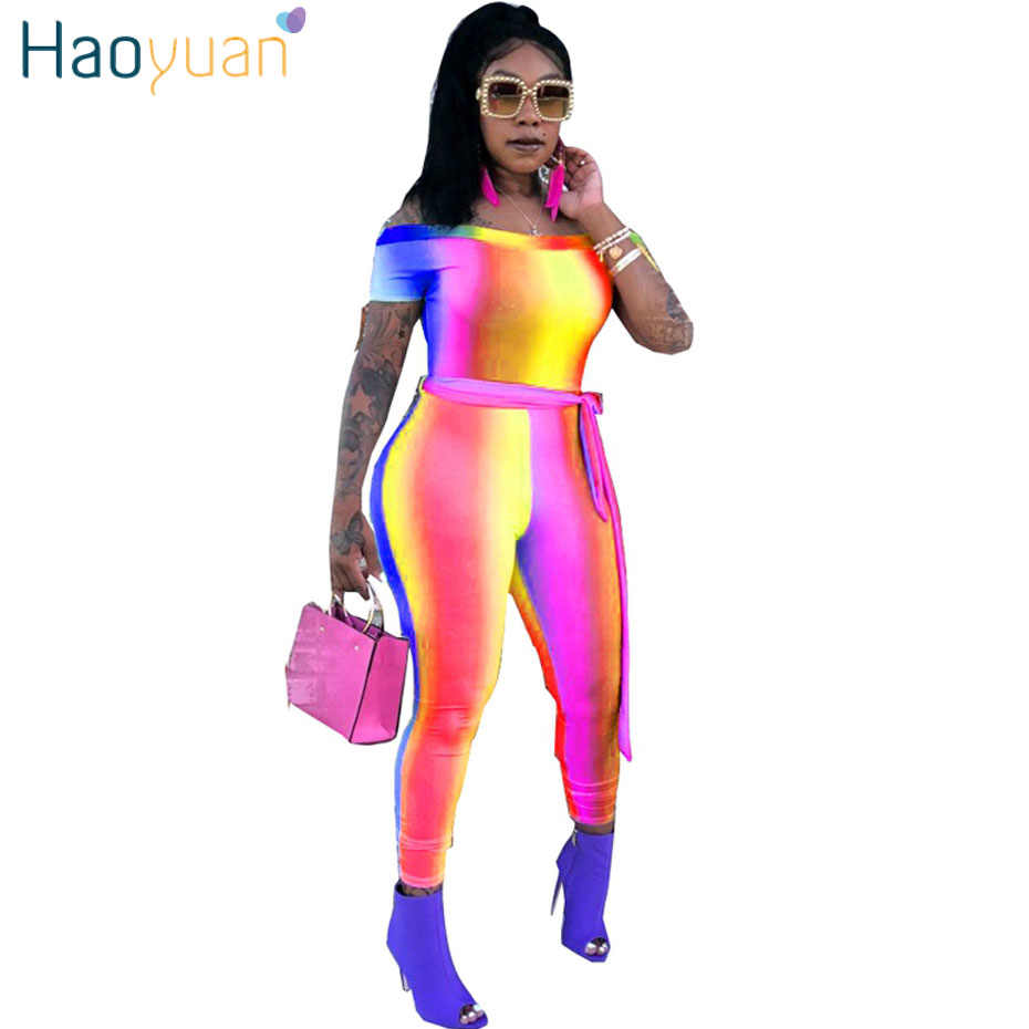 8e496c098544 HAOYUAN Rainbow Gradient Color Striped Sexy Rompers Womens Jumpsuit Short  Sleeve Off Shoulder One Piece Long