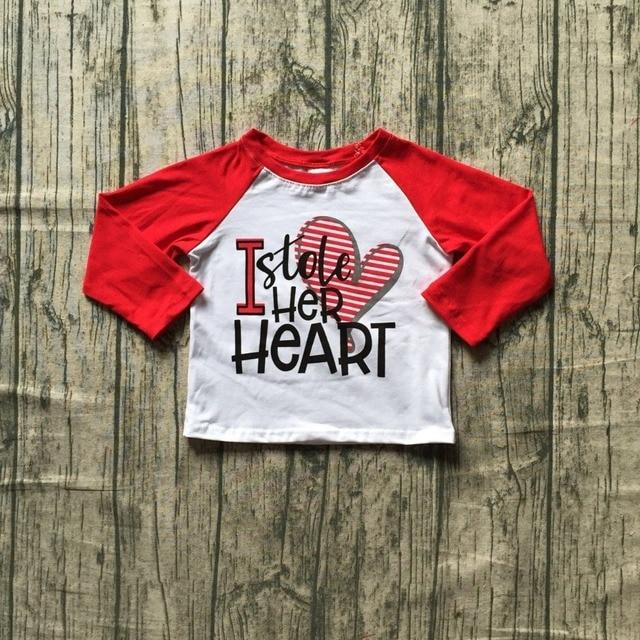 Baby Boys Boutique Raglans Clothing Boys Valentines Day I Stole Her Heart Print Top Raglans Boys