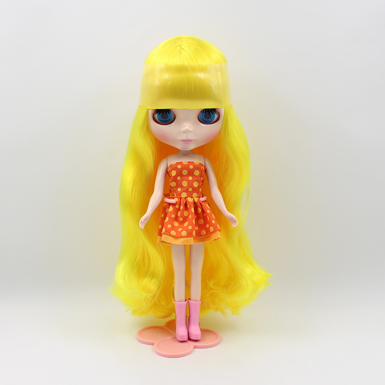 Bright Yellow Long Curly Hair Nude Blyth Doll Suitable For DIY Change BJD Toy For Girls