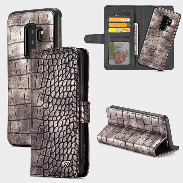 low priced a8445 c52b4 US $9.28 21% OFF|WHATIF For Samsung Galaxy S9 S9 Plus S9+ Note 9 Case  Luxury Crocodile Snake Leather Flip Business 2 in 1 Wallet Cases Cover  Bag-in ...