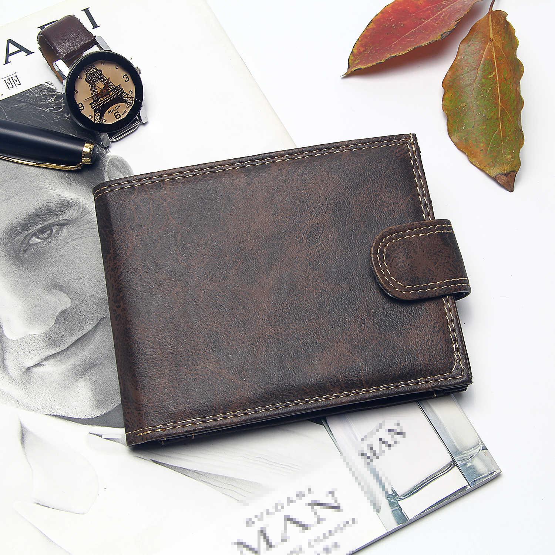 Luxe Designer Heren Portemonnee Leer Pu Bifold Korte Portefeuilles Mannen Hasp Vintage Mannelijke Purse Coin Pouch Multi-Functionele Kaarten portemonnee