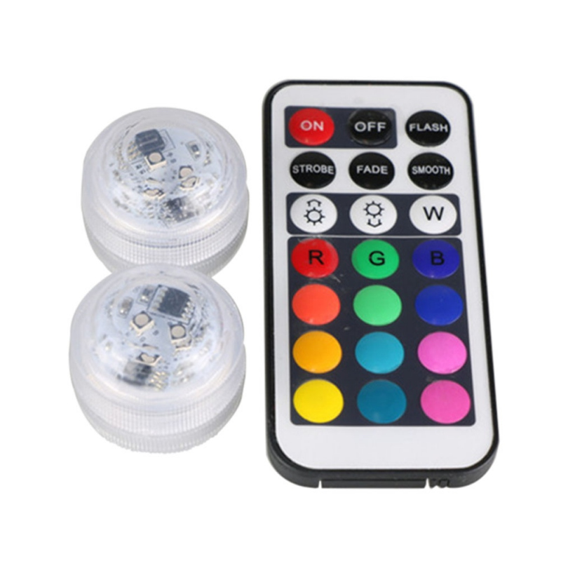 RGB Submersible Lights 24 Keys Remote Control Wireless Pond Underwater Lights Multi Color Battery Operated Light 10LED