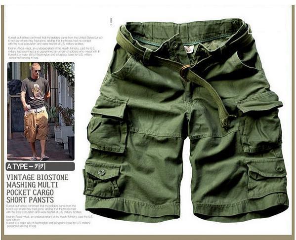 Новинка, Летний стиль, мужские повседневные армейские камуфляжные шорты Карго, хлопковые короткие штаны, военные камуфляжные модные шорты, мужские пляжные шорты - Цвет: Армейский зеленый