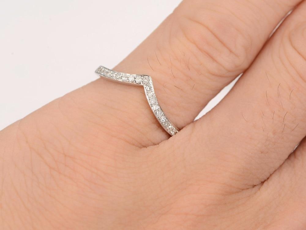 MYRAY 14K White Gold Wedding Band Diamond Wedding Band Curve Wedding Band Pave Diamond Ring Eternity Bands