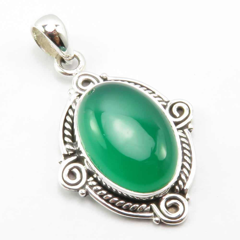 India Unique Designed Green Onyx Pendant for Necklace 1.6 Silver Gem Stone Art Jewelery