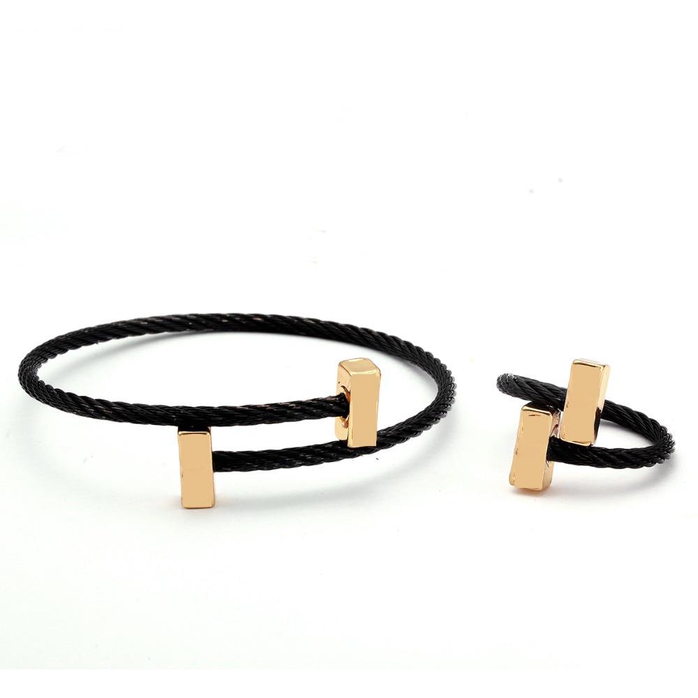 Luxury Brand Chain Link Girls Women Charm Beads Bangles Simple Design Stainless Steel Open Fashion Cuff Female Bracelets