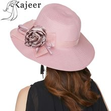 Kajeer Rosa Chapéu de Sol Casual Para Mulheres Palha Praia Chapéus Senhoras  Arcos Flor Floppy Straw Caps Chapéu de Abas Largas V.. 984f1966a8e