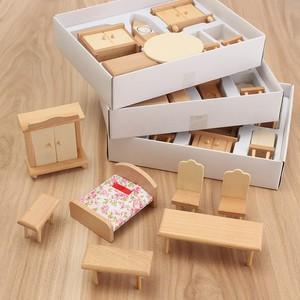 Hot Koop 29 stks/set Poppenhuis Miniatuur Ongeverfd Houten Meubels Suite 1/24 Schaal Model Pop Speelgoed Kinderen Speelgoed Voor Kinderen(China)