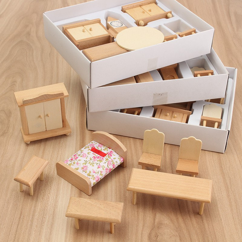 Hot Sale 29Pcs/Set Dollhouse Miniature Unpainted Wooden Furniture Suite  1/24 Scale Model