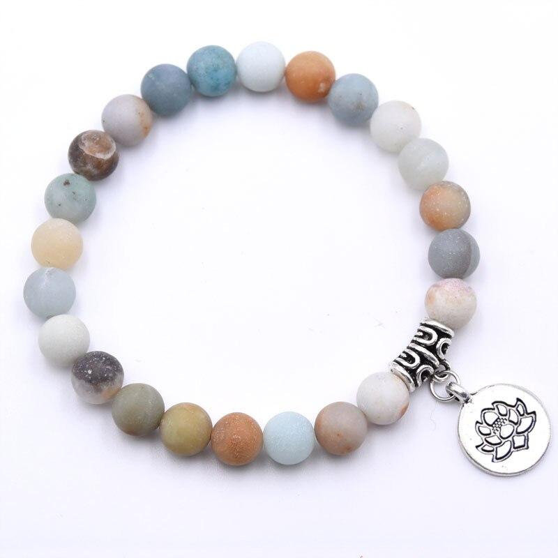 Natural Stone Lotus Buddha Beads Bracelet Matte Amazonite Mala Beads bracelets bangles For Women Men Yoga bracelet femme homme 11