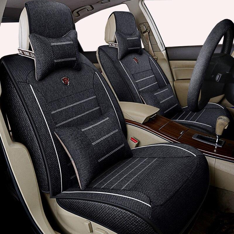 Высококачественный льняной универсальный чехол для автомобильных сидений для hyundai IX35 IX25 Sonata Santafe Tucson ELANTRA Accent автомобильные наклейки