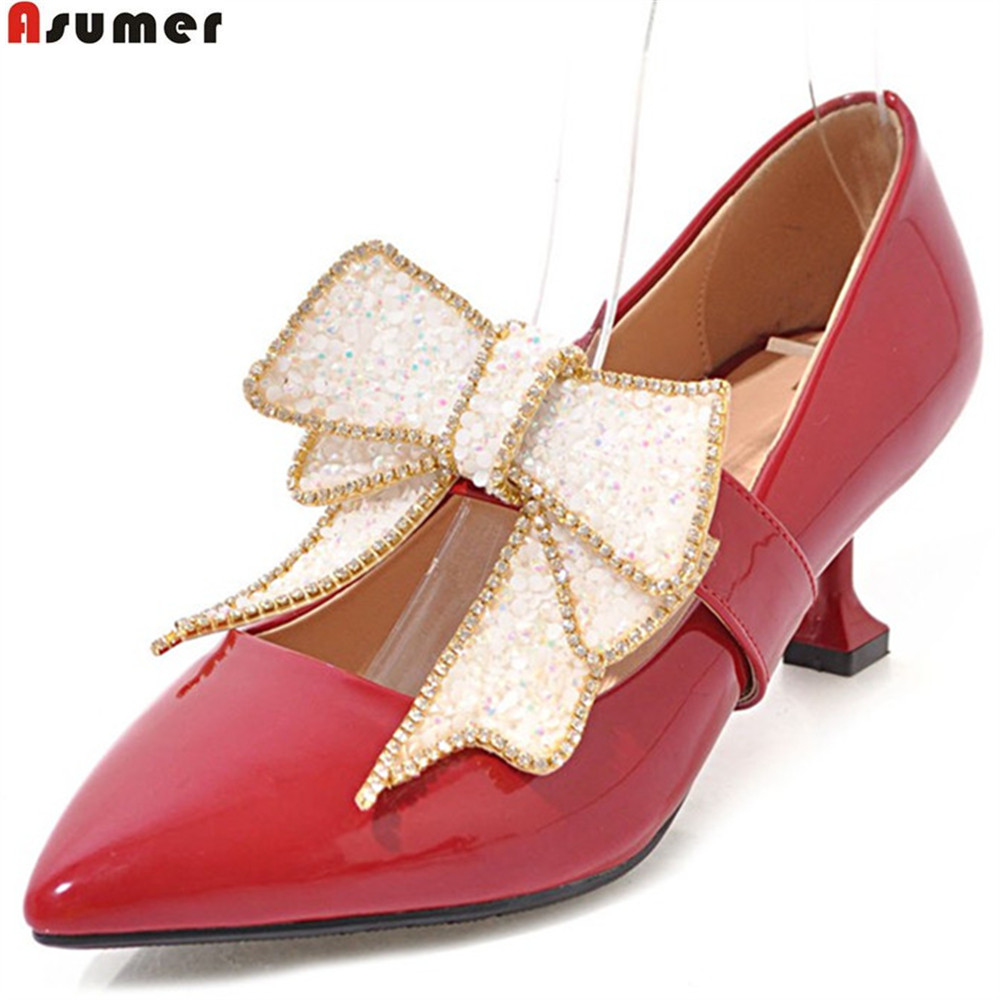 ASUMER big size 33-43 fashion spring autumn high heels shoes woman pointed toe shallow elegant wedding shoes pumps women shoes asumer gold silvery fashion square toe buckle ladies single shoes spring autumn women high heels shoes big size 32 44
