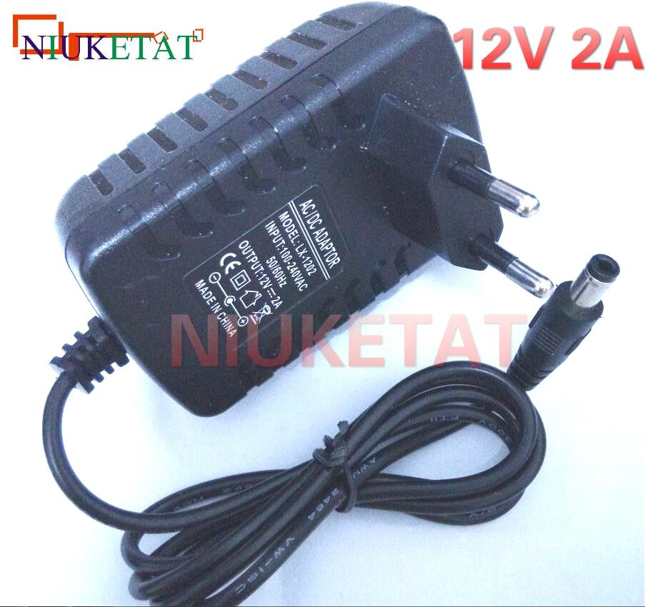 2 Packs AC Adapter DC 12V 2A 12V2A Power Supply for CCTV Cameras DVR Strip LED