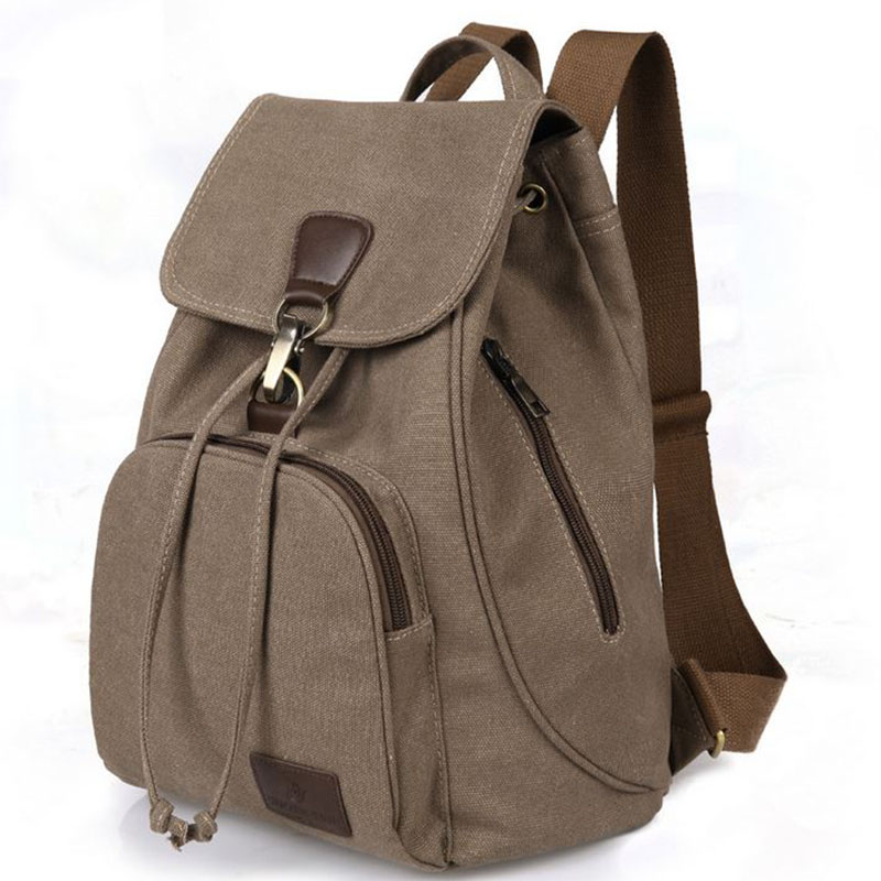 2016 New Casual Women Dailyl Backpack Canvas Bag Student Schoolbag Retro Drawstring Bag Men s Travel
