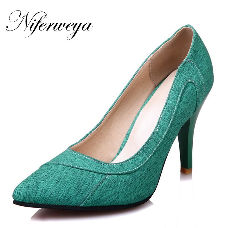 Spring/Autumn women pumps Sexy Pointed Toe Office & Career shoes big size 28-52 Slip-On Shallow high heels zapatos mujer 8010 rizabina vintage spring women wedge pumps elegant slip on high heels shoes pointed toe ladies zapatos mujer shoes size 33 43