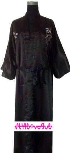 中国風の女性のサテン刺繍竹浴衣カフタンローブガウンベルト SML XL XXL XXXL ドラゴン MR002