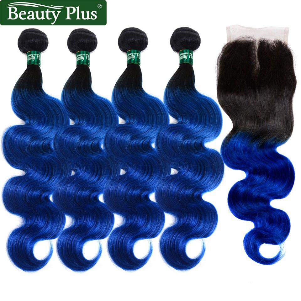 T1b/blue Ombre Pacotes Com Fecho de Cabelo Humano beleza mais Brasileiro Onda do corpo 4 Pacotes Com Fecho de 4x4 Médio Marrom Não Remy