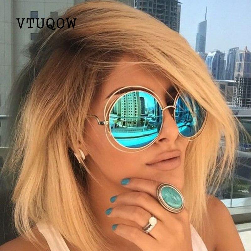 Fashion High Quality Round Sunglasses Women Brand Designer M