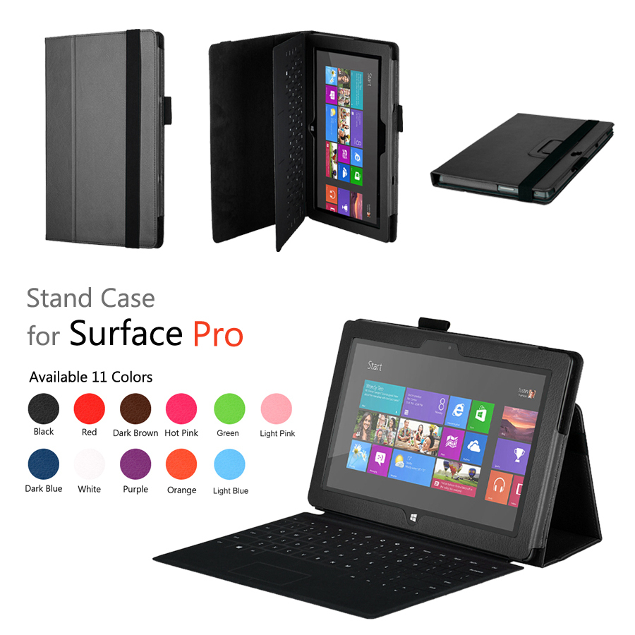 Surface Pro Tablet Leather Case For Microsfot Windows 10.6 Inch Surface Pro 2 Flip Leather Cover Case +protector