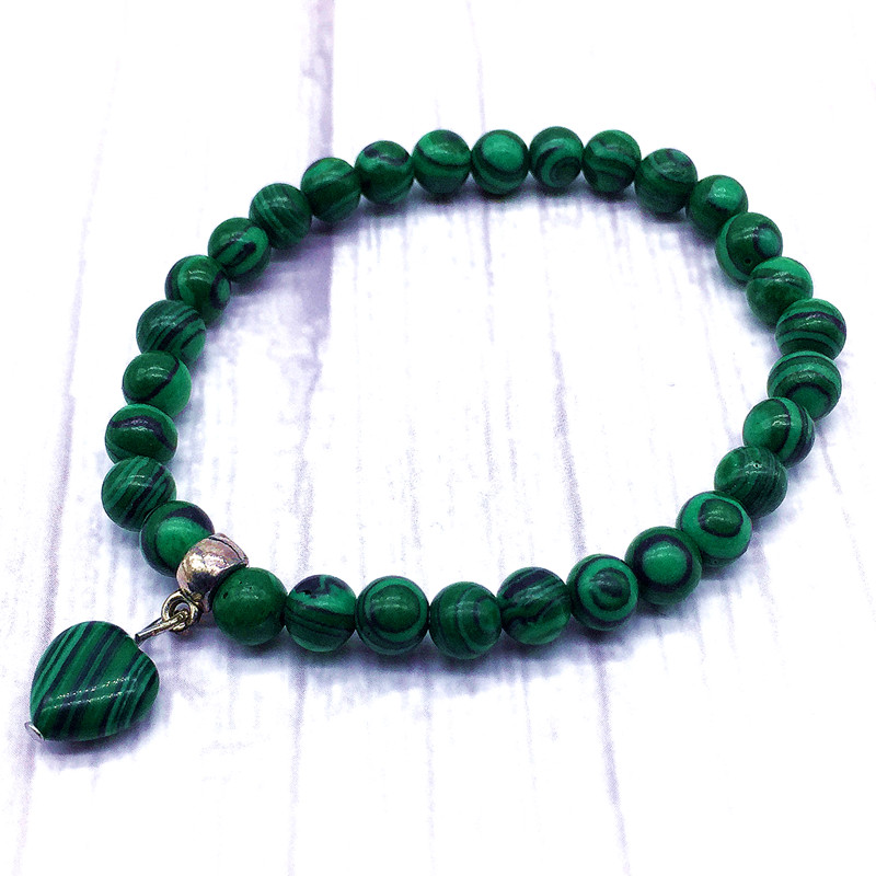 Charm Bracelet 6 mm Synthetic Malachite Beads Women 18.5 cm For Girls Gift