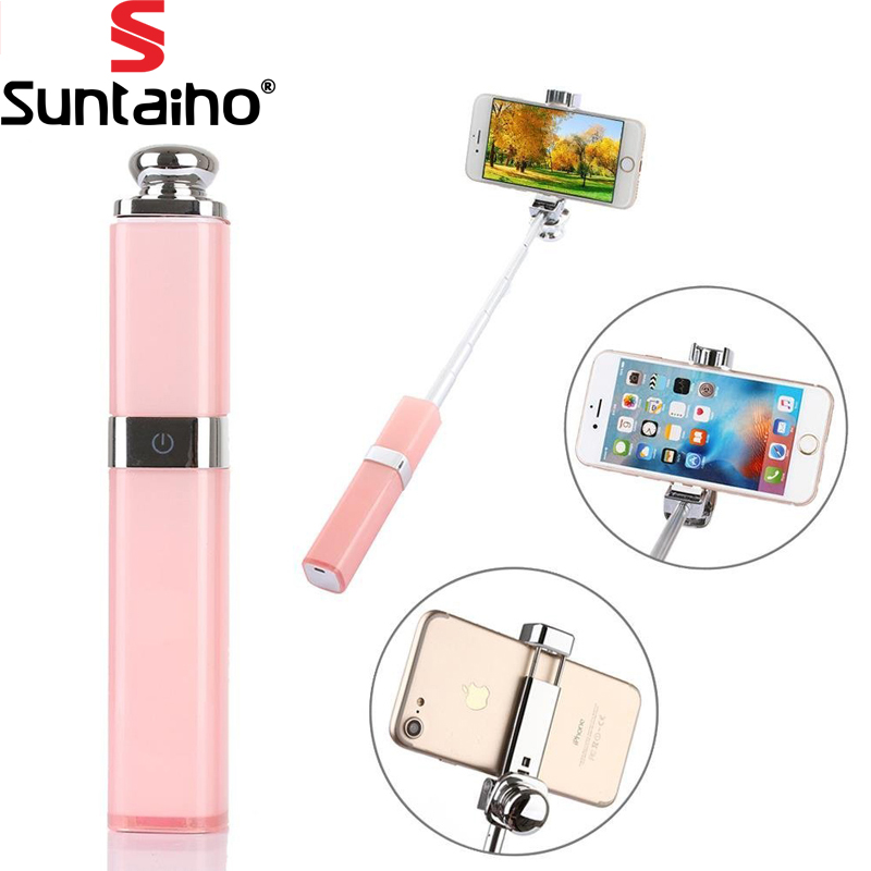 Lipstick Bluetooth Wireless Selfie Stick Monopod for iPhone 7 7 plus iPhone 6 6s iOS for