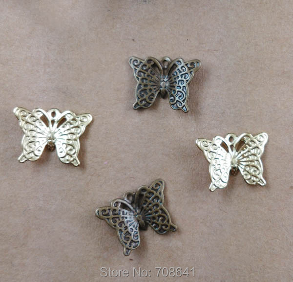 9x12mm Vintage Filigree Butterfly Metal Wraps Links European Tiny Charms Hair Clasp Bu Yao Accessories DIY Findings Multi-Color