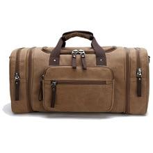 купить Men Canvas Travel Duffel Bag Large capacity Fitness Gym bag Hiking Camping Shoulder bags Luggage conpartment Journey Handbag по цене 2025.58 рублей