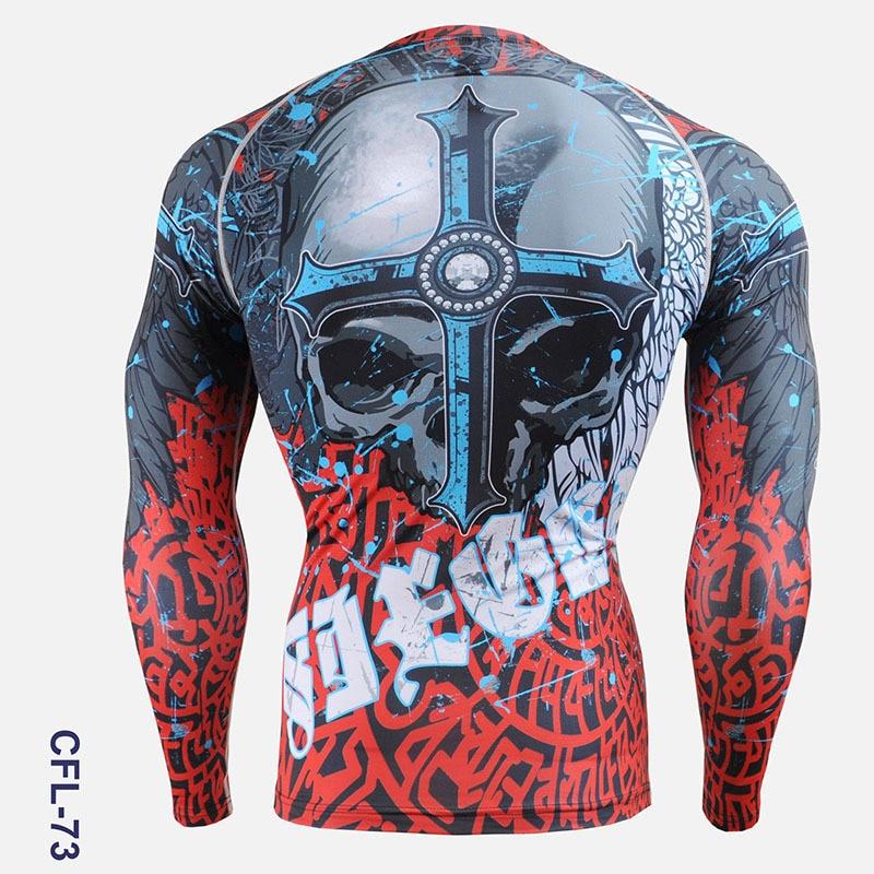 PRO Skull Print Herren Radsport Skins Kompressionsstrumpfhose Shirts - Sportbekleidung und Accessoires - Foto 2