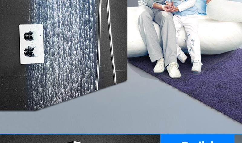 DCAN 10 Rainfall Shower Head System Polished Chrome Bath Wall Mounted Shower Faucet Bathroom Luxury Rain Mixer Shower Combo Set (5)