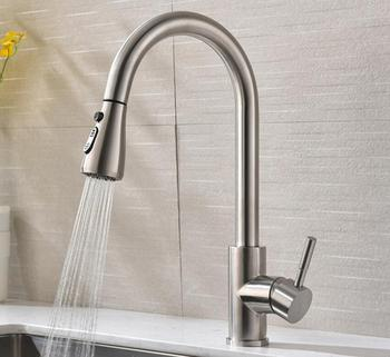 pull out kitchen faucets brass water tap stainless steel water mixer taps flexible kitchen tap torneira do anheiro KF909