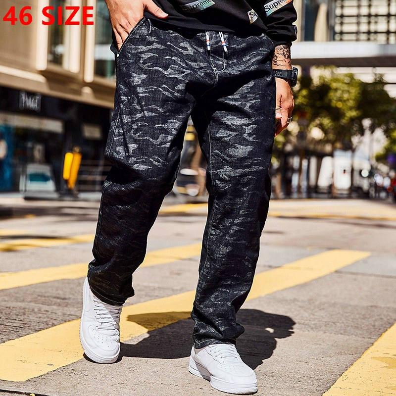 New autumn   jeans   black camouflage straight big size trousers men plus size   jeans   46 44 42