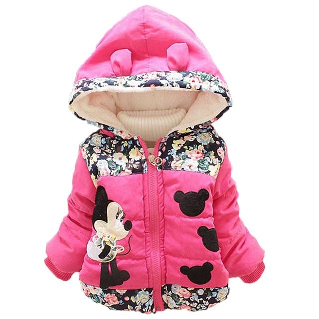 2018 Winter Girls Warm Jackets Children Clothing Baby Coat Girls Minnie Cartoon Hooded Outerwear For 1-5 Years Kids Vest Jacket