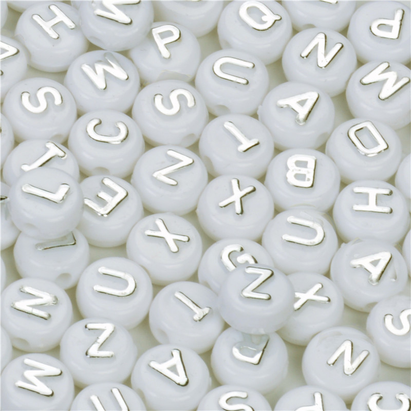 100pcs Round Acrylic Mixed Alphabet Spacer Beads For Jewelry Making 10mm White With Silver Letter Beads Charms Bracelet Necklace