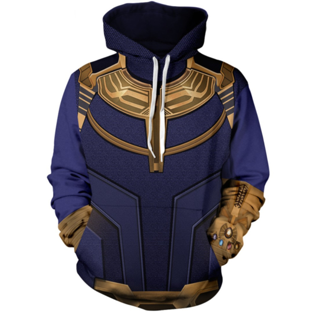 Cosplay The Avengers Spiderman Iron Man Thanos 3D Print Hoodie Sweater Jacket Top coat Adult men Sweatshirt Halloween Costume