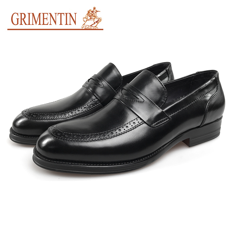 GRIMENTIN Slip On Men Formal Shoes Leather Italian Designer Black High Quality Oxford Business Oxford Shoes oxford borboniqua oxford