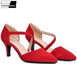2019 Nouveau Kid Suede Bout Pointu Pompes Femmes Mode Bloc talon chunky Chaussures Élégant Rouge De Noce chaussures dames grande taille 41